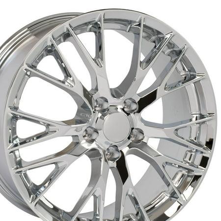 20x10 Wheel Fits C7 Corvette, Camaro - Flow Formed C7 Z06 Style Chrome Rim, Hollander 58982