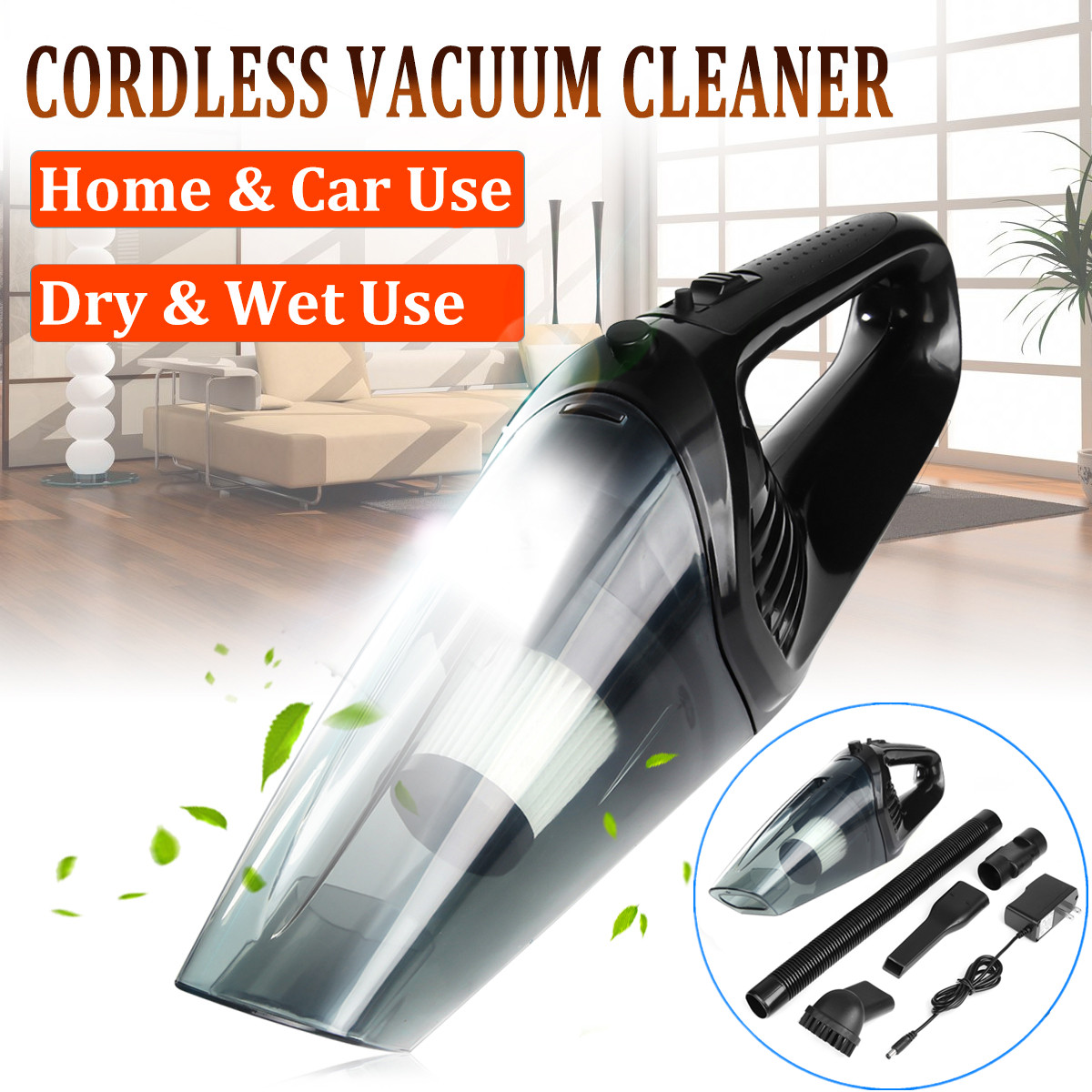 120W Powerful Handheld Cordless Car Home Vacuum Cleaner Quiet Dry&Wet Use with LED