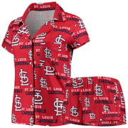 St. Louis Cardinals Concepts Sport Women's Zest Allover Print Button-Up Shirt & Shorts Sleep Set - Red