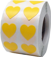 Peach Heart Stickers, 1/2 Inch Wide, 1000 Labels on a Roll