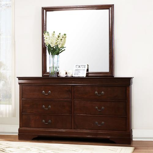 Tribecca Home Milford Louis Phillip Brown Traditional 6-drawer Dresser and Mirror by