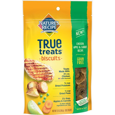 Nature's Recipe True Treats, Chicken, Apple, and Carrot Recipe, Grain Free, Dog Biscuits, 12 Ounce Bag