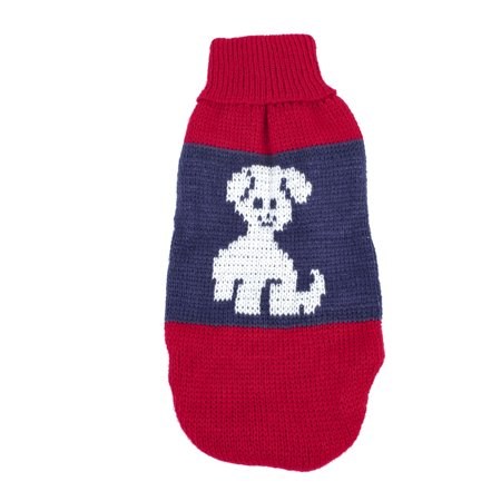 Charming Dog Print (Unique Bargains Charming Pet Puppy Dog Clothes Dog Apparel Sweater Size S Red Blue XXS )