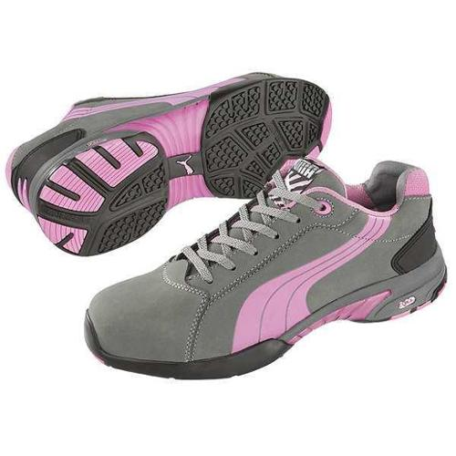 PUMA SAFETY SHOES 642865 Athltc Style Wrk Shoes, 8W, Gray/Pink, PR