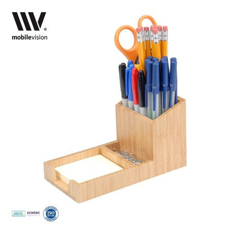 Mobilevision Bamboo Pencil Holder With Tray For Storing And