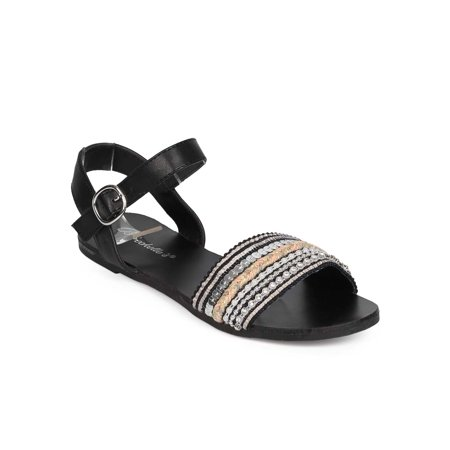 Breckelles ED62 Women Fabric Open Toe Embellished Boho Ankle Strap Sandal (Jordan 14 Black Toe Kids)