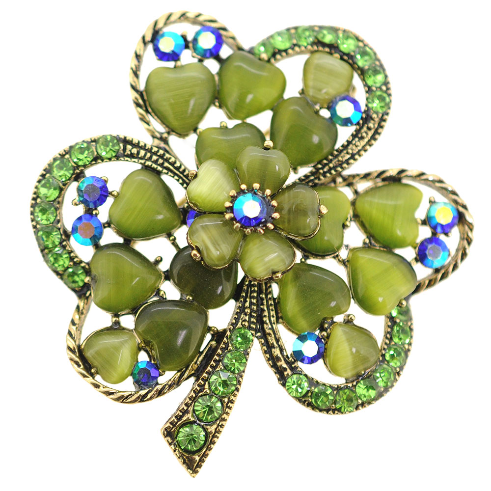 Green 3 Leaf Clover Flower Crystal Pin Brooch by