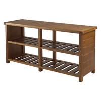 Winsome Wood Keystone Bench, Shoe Storage, Teak Finish