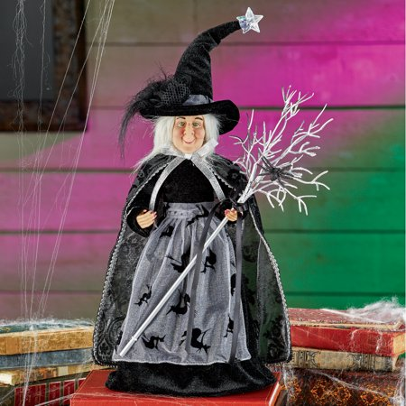 Halloween Displays Nyc (Tabletop Witch and Broom with Crawling Spider Halloween Decor on a Stand to Easily Display it Anywhere in Your)