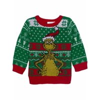 Infant Boys Green & Red The Grinch Christmas Holiday Knit Sweater