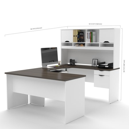 innova u shaped desk with accessories in white and antigua. Black Bedroom Furniture Sets. Home Design Ideas