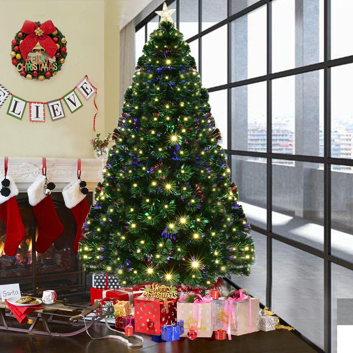 Costway 5' /6'/7'Pre-Lit Fiber Optic Artificial Christmas Tree w/ 180/230/280 LED Lights & Top Star