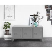 HOMYCASA Metal Cabinet Locker 3 Door Office Filing Cablint Organizer Living Room TV Stand Grey