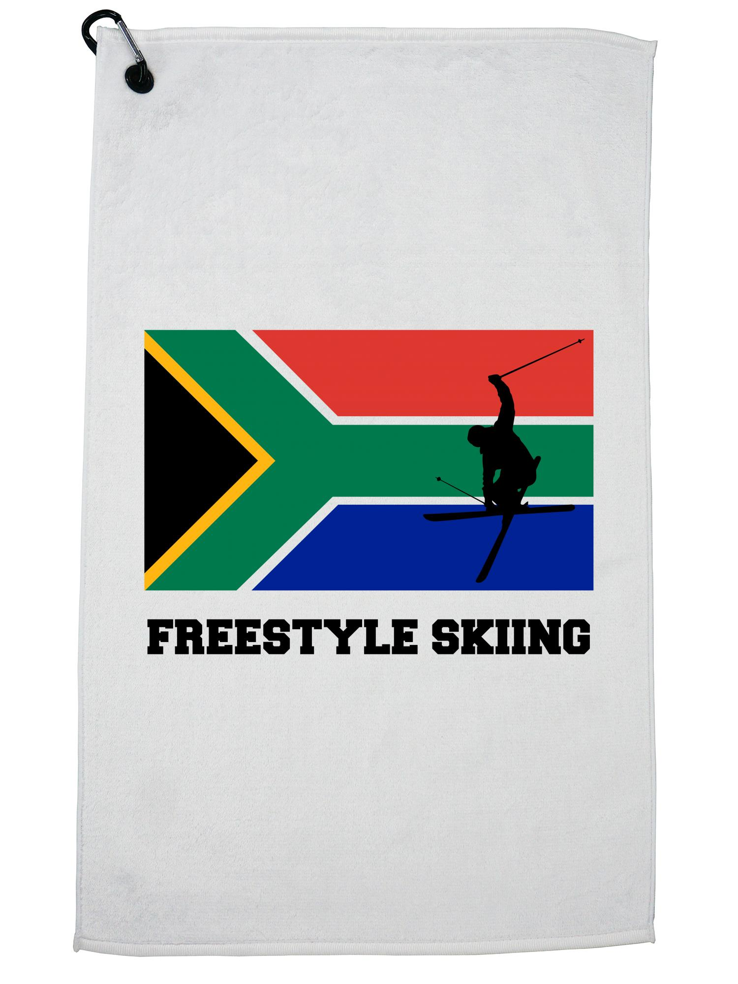 South Africa Olympic Freestyle Skiing Flag Silhouette Golf Towel with Carabiner Clip by Hollywood Thread