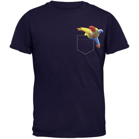 Pocket Halloween Horror Jack-In-The-Box Navy Adult T-Shirt (This Is Halloween Classic Horror)