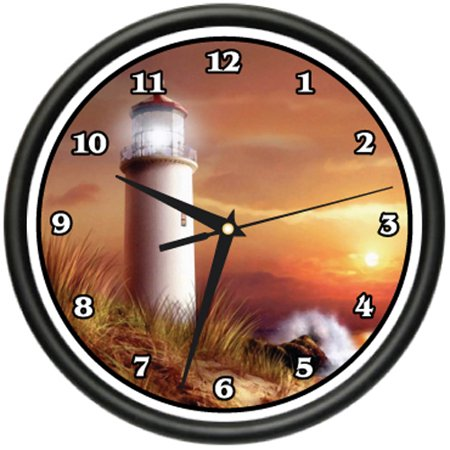 Lighthouse Wall Clock Sailing Boat Landmark Light Sailor