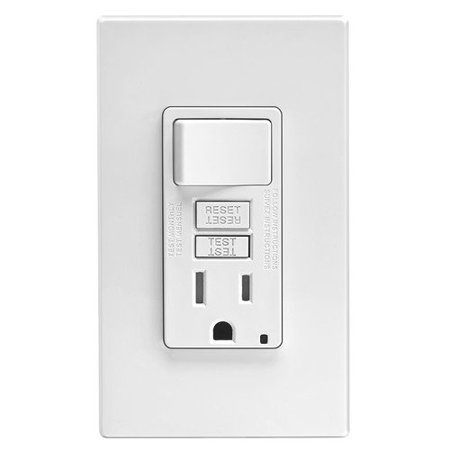 Leviton Gfci Wiring - Tamper-Resistant GFCI Switch & Outlet Combination Wall Plate White Leviton