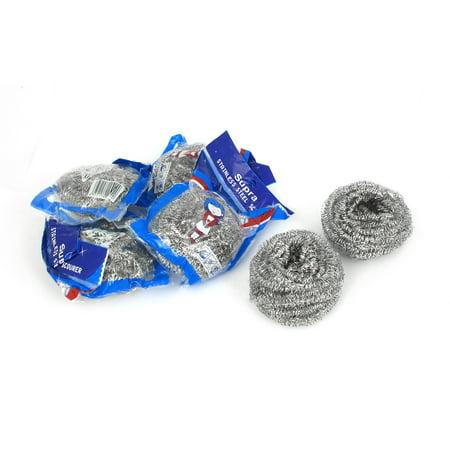 Unique BargainsKitchen Dish Bowl Steel Wire Spiral Scrubbing Washing Cleaning Ball Cleaner 6pcs