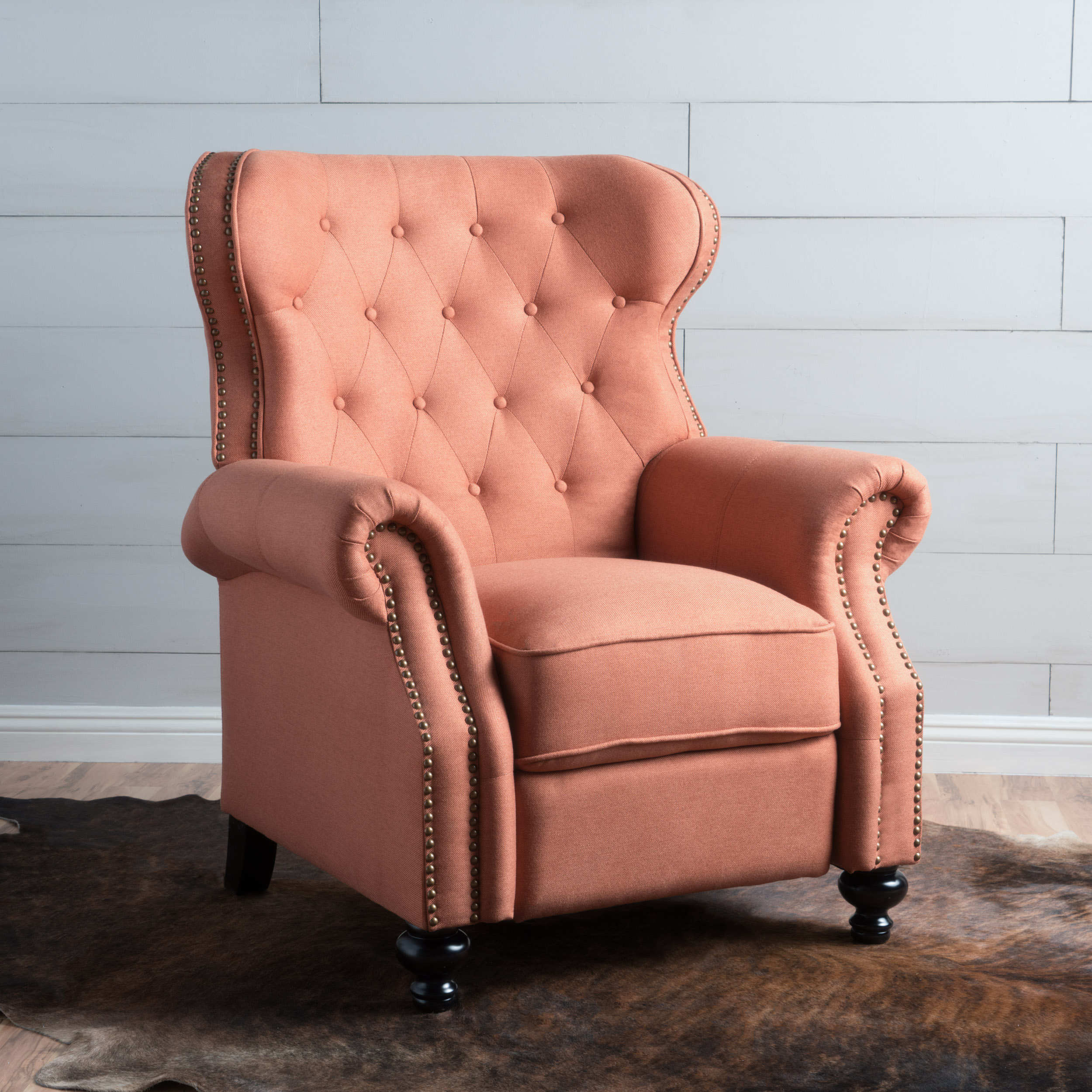 Noble House Alma Tufted Back Studded Accent Fabric Recliner, Orange