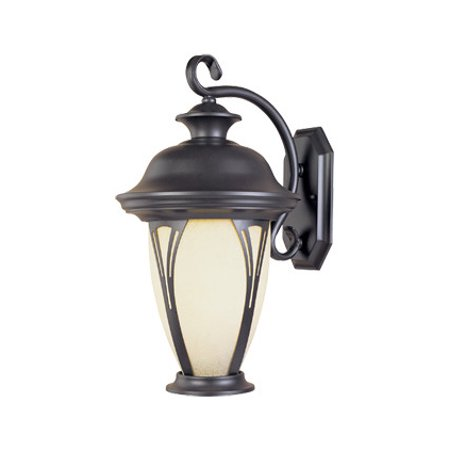 Bronze w/amber glass 1 Light 7in. Wall Lantern from the Westchester (Bronze Vintage Wall Lantern)