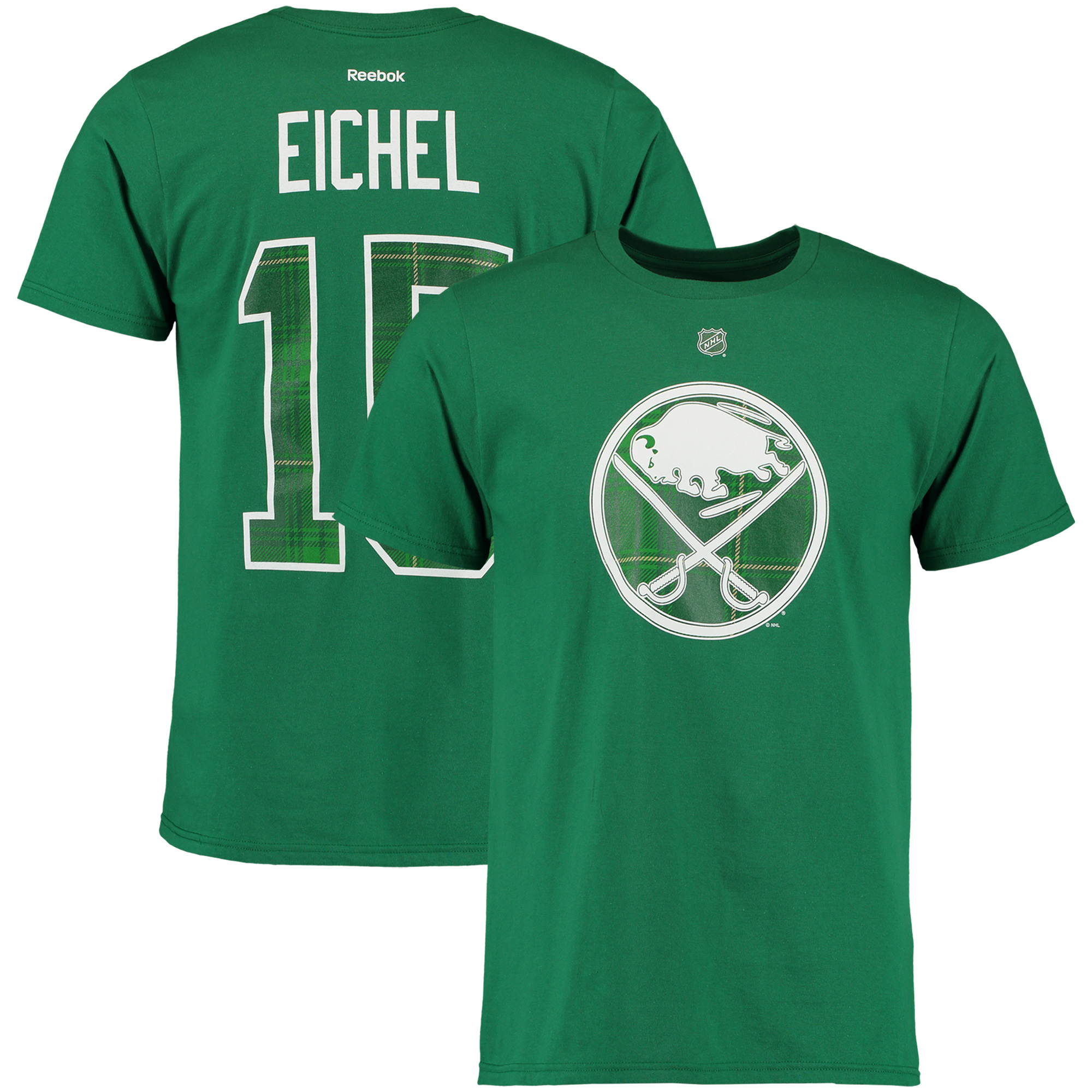 Jack Eichel Buffalo Sabres Reebok St. Paddy's Name & Number T-Shirt - Kelly Green