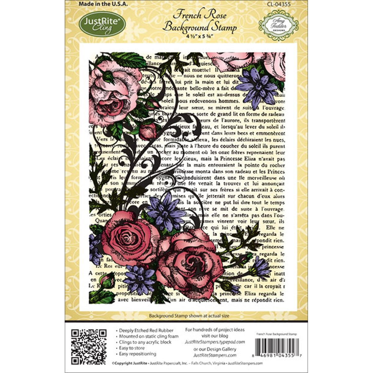 Justrite Papercraft Cling Background Stamp, 4.5 by 5.75-Inch, French Rose Multi-Colored