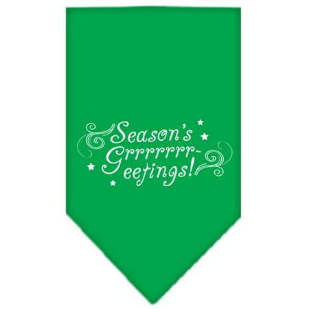Seasons Greetings Screen Print Bandana Emerald Green Large - Green Bandanna