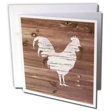 - 3dRose White Painted Rooster on Brown Weatherboard- Not Real Wood - Greeting Cards, 6 by 6-inches, set of 12