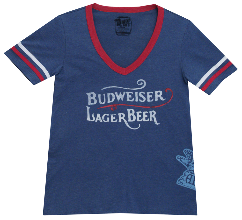 Anheuser-Busch Budweiser Lager Beer Vintage Adult Women's Junior-Cut T-Shirt Tee