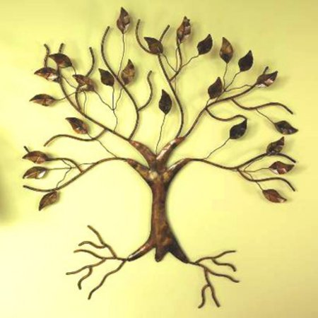 - Ancient Graffiti Torched Copper Tree Wall Sculpture