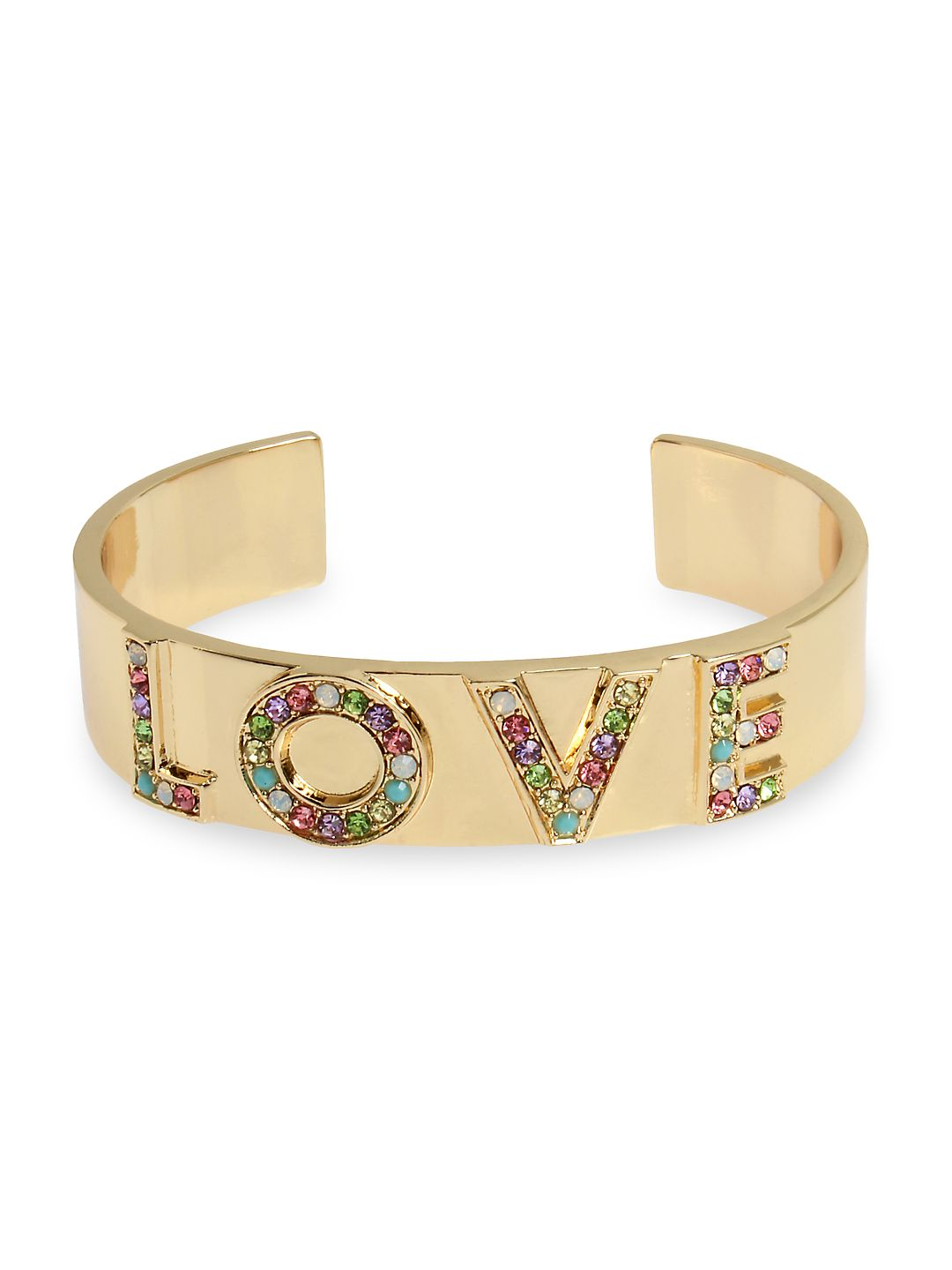 "Affirmation Goldtone Crystal ""LOVE"" Cuff Bracelet"