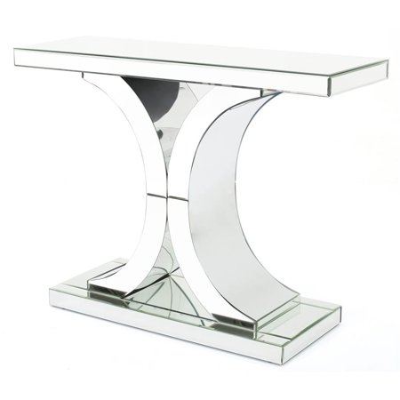 Console Table in Mirror Finish Antiqued Mirror Console Table