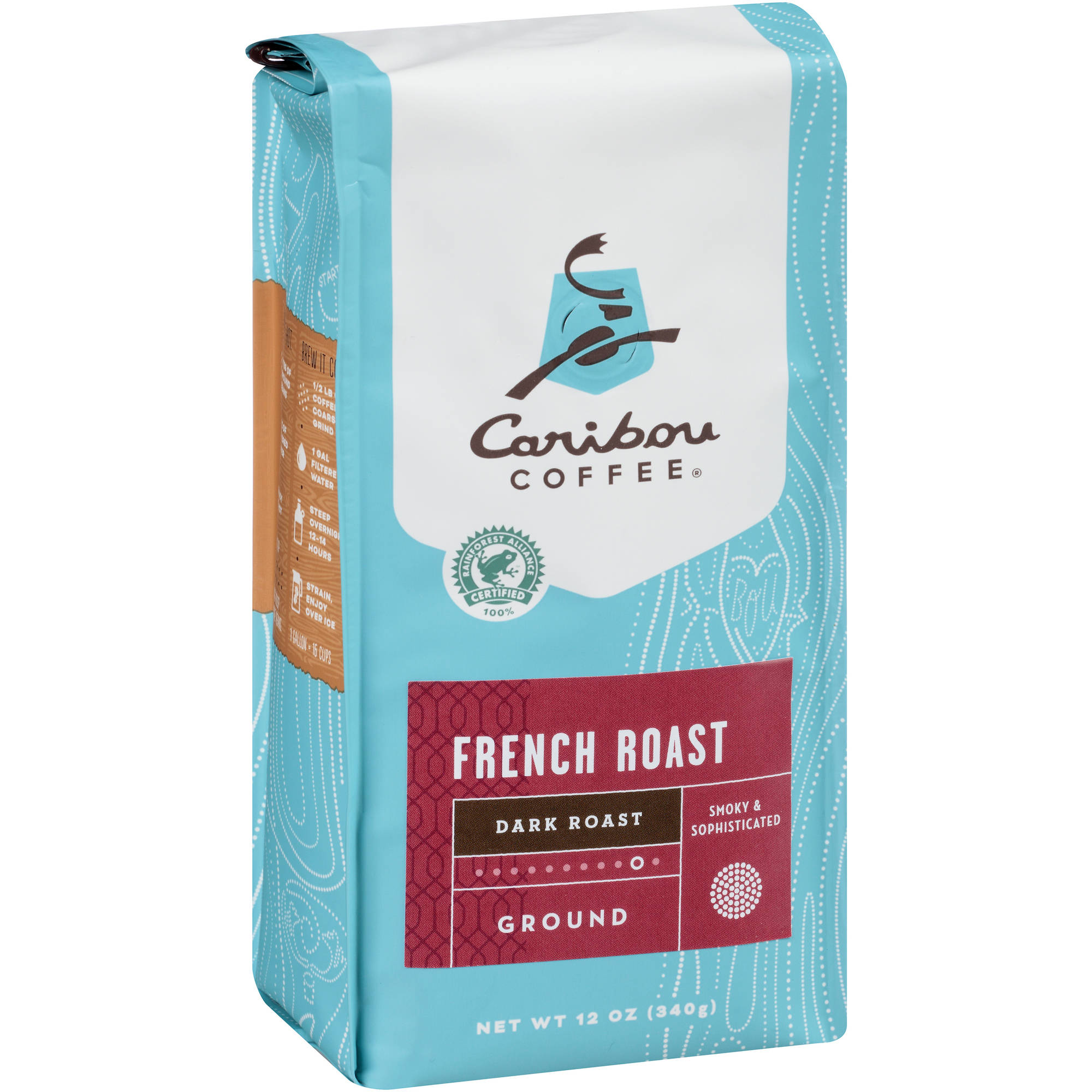 Caribou Coffee French Roast Dark Roast Ground Coffee, 12 oz