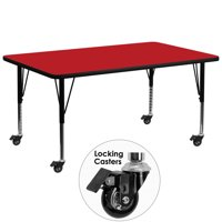 Flash Furniture Mobile 30''W x 72''L Rectangular Activity Table with 1.25'' Thick High Pressure Red Laminate Top and Height Adjustable Preschool Legs