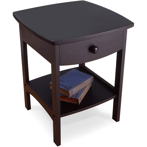 Winsome Trading Curved 1 Drawer Nightstand End Table Walmart