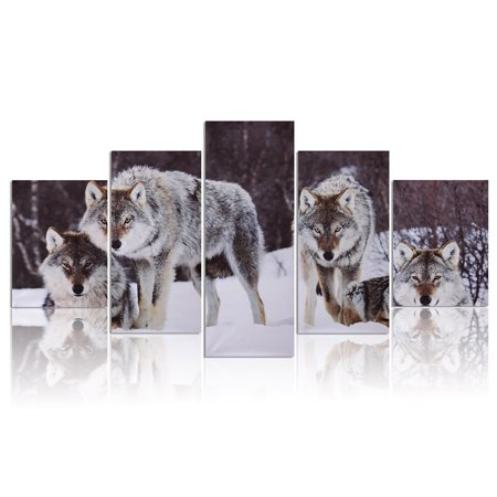 5Pcs Modern Abstract HD Snowfield Wolf Picture Unframe Canvas Painting Picture Print Home Wall Decor Gift ()