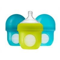 Boon Nursh Reusable Silicone Pouch Baby Bottle, Air-Free Feeding, Blue Multi Pack 4 Oz 3 Pk