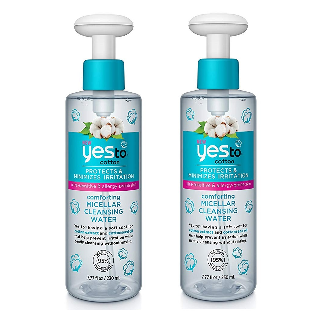Yes To Cotton Protects and Minimizes Irriation for Ultra Sensitive and Allergy Prone Skin Comforting Micellar Cleansing Water, 7.77 Oz (Pack of 2) + Yes to Tomatoes Moisturizing Single Use Mask