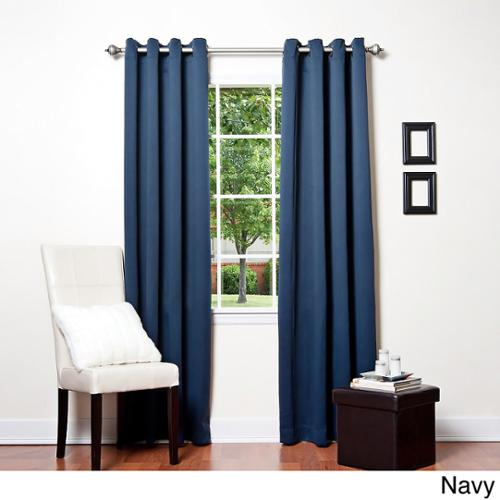 Aurora Home Solid Grommet Top Thermal Insulated 108 Inch Blackout Curtain  Panel Pair Black   Walmart.com