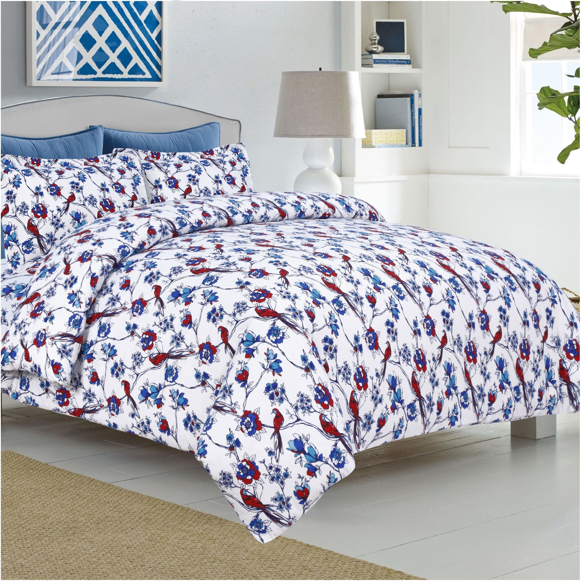 Tribeca Living Bird Park Flannel 3-piece Duvet Cover Set