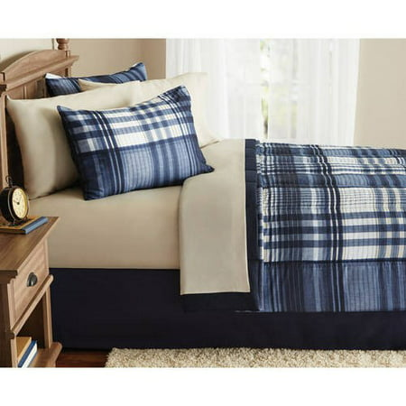 Mainstays Indigo Plaid 8- Piece Bed in a Bag Bedding Comforter Set, Full