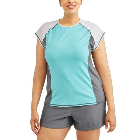822882f775 Free Tech - Women s Plus-Size Sporty Colorblock Rashguard Swim Cover ...