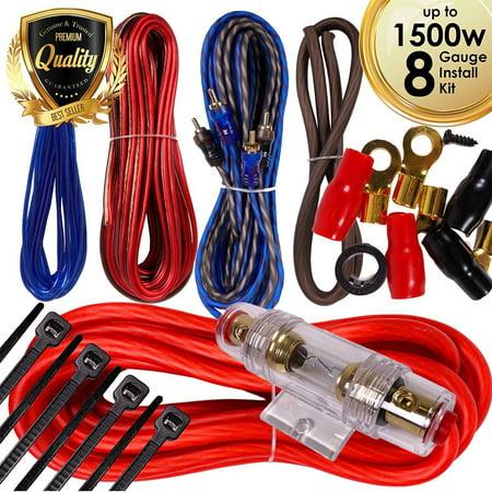 Complete 1500W 8 Gauge Car Amplifier Installation Wiring Kit Amp PK3 8 Ga Red ()