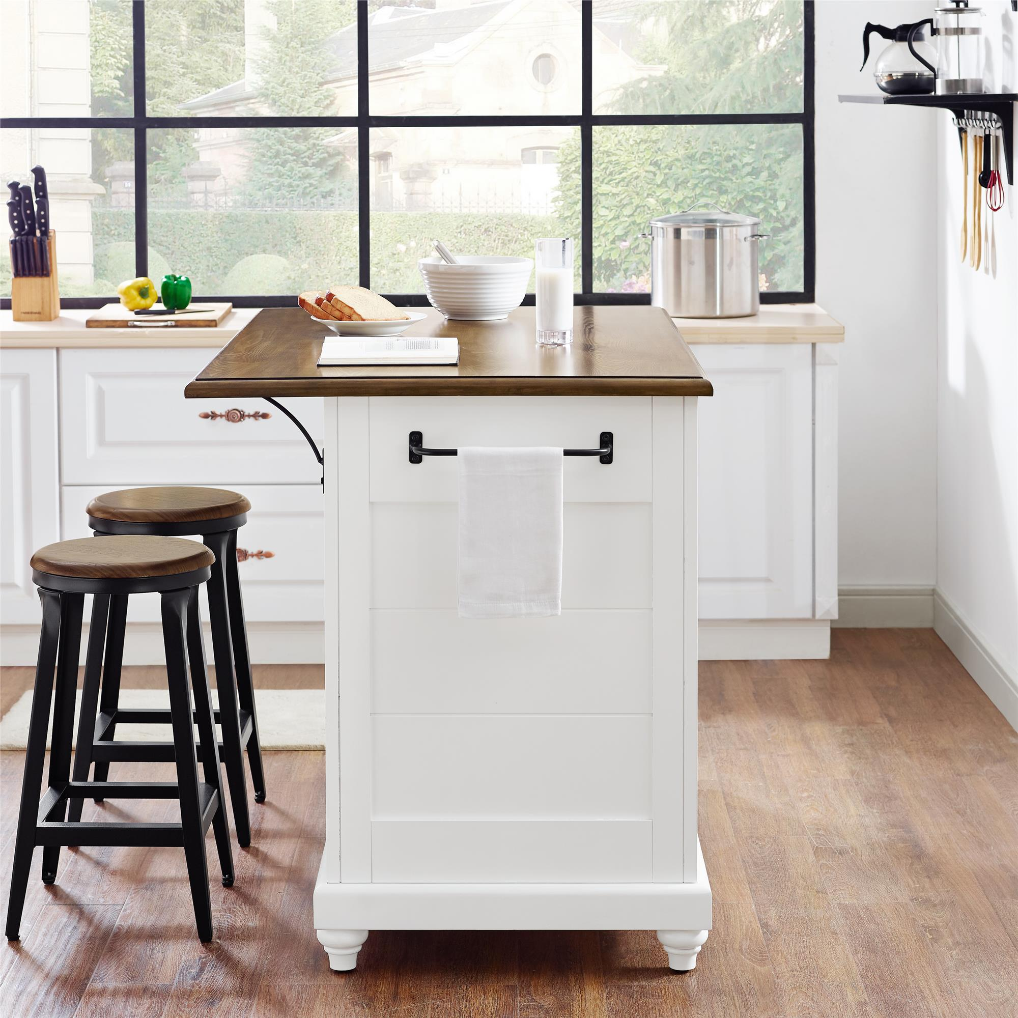 Dorel Living Kelsey Kitchen Island With 2 Stools And Drawers White Walmart Com Walmart Com