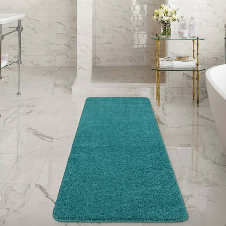 Ottomanson Luxury Non-Slip Rubber Backing Solid Shag Area Rugs and Runners for Kitchen and Bathroom Mat ()