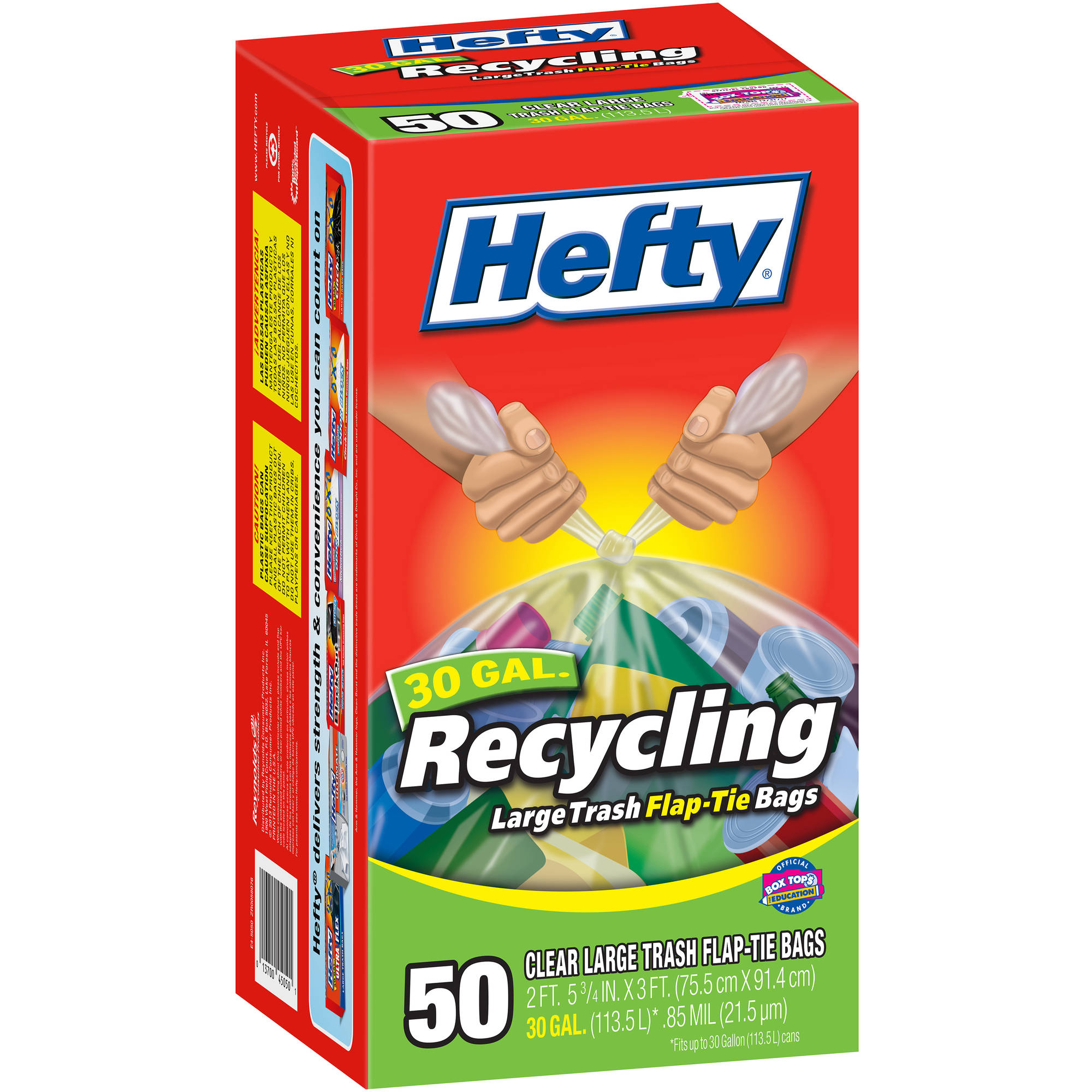 Hefty Recycling Clear Large Flap-Tie Trash Bags, 30 gallon, 50 count