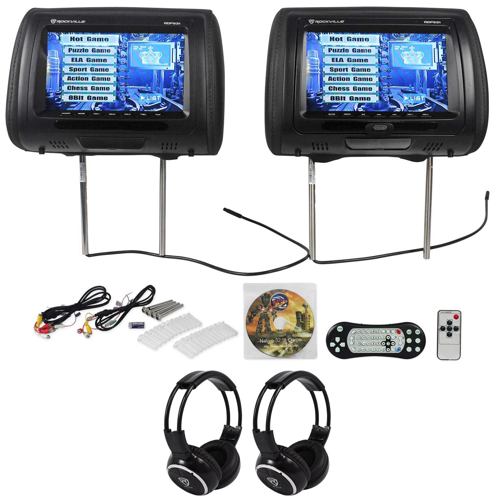 "Rockville RDP931-BK 9"" Black Car DVD/HDMI Headrest Monitors+2 Wireless Headsets"