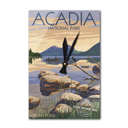 Acadia National Park, Maine - Celebrating 100 Years - Jordan Pond - Lantern Press Poster (Acrylic Wall Clock) (Jordan Wall Clock)