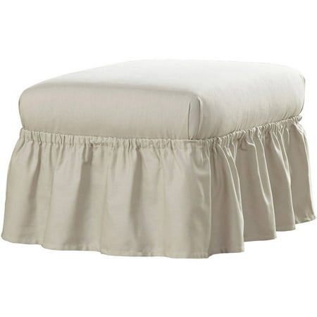 Floral Furniture Slipcover - Serta Relaxed Fit Duck Furniture Slipcover, Ottoman