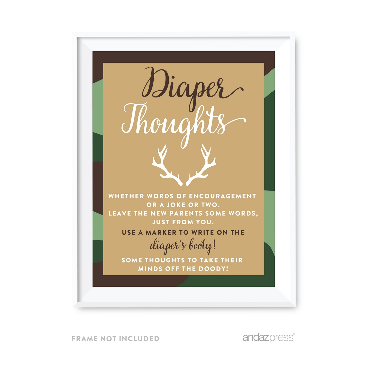 Diaper Thoughts Woodland Camouflage Boy Baby Shower Game Diaper Thoughts